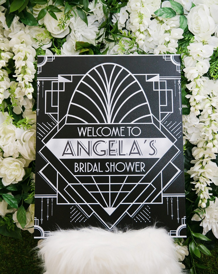 Art Deco themed welcome sign