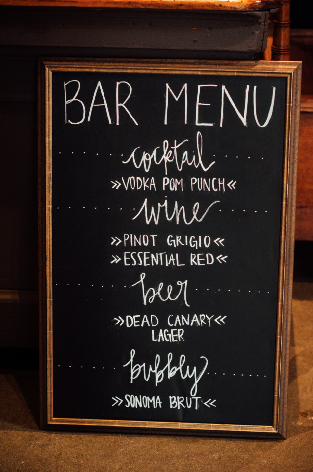 chalkboard bar menu for wedding