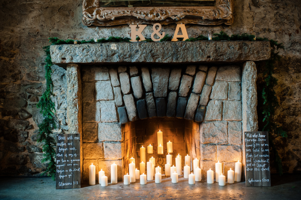 candlelit fireplace wedding idea