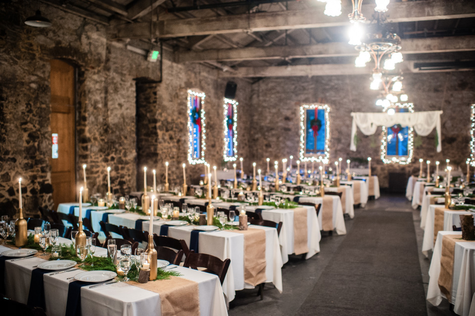 beautiful indoor winter wedding reception
