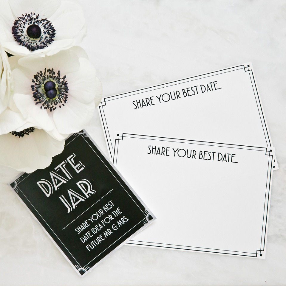 date jar cards for the bride and her groom