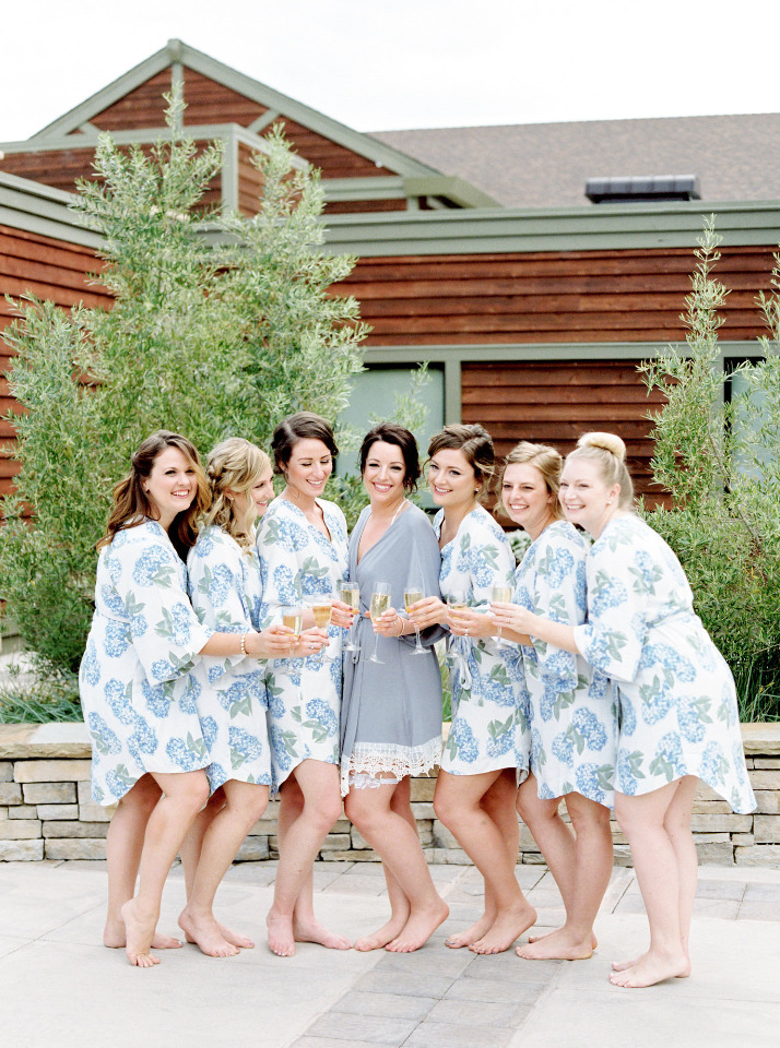 fun floral blue and white getting ready robes