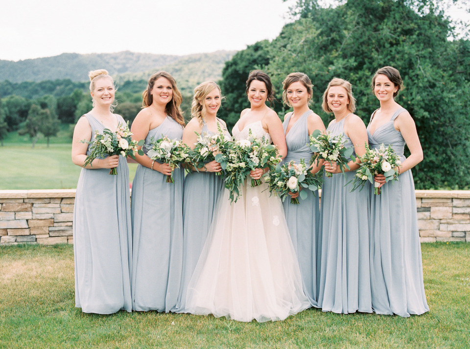 light blue bridesmaids dresses in different styles