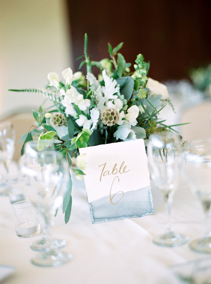 watercolor blue table numbers