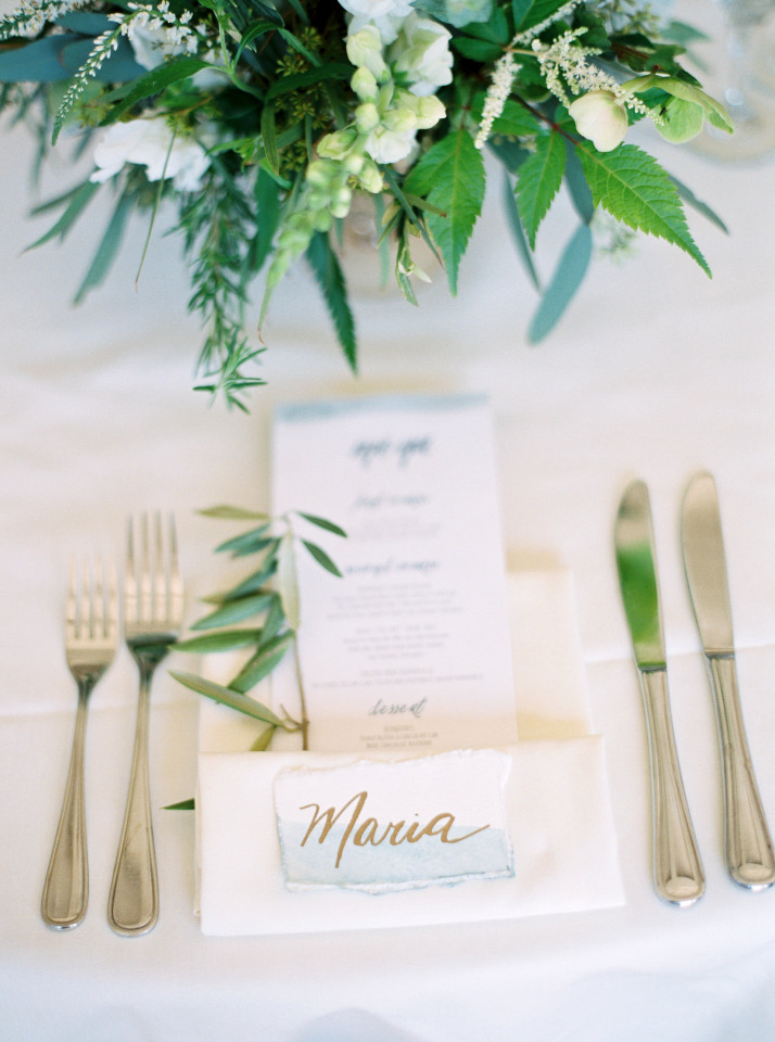 watercolor and calligraphy escort cards