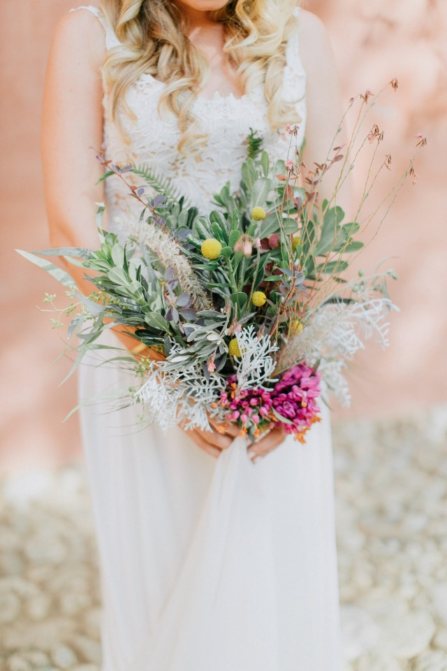 sweet wildflower style bridal bouquet