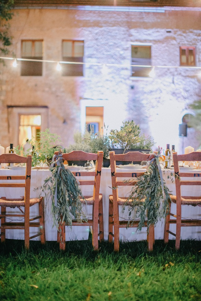 his hand hers wedding seats with dried herb seat decor