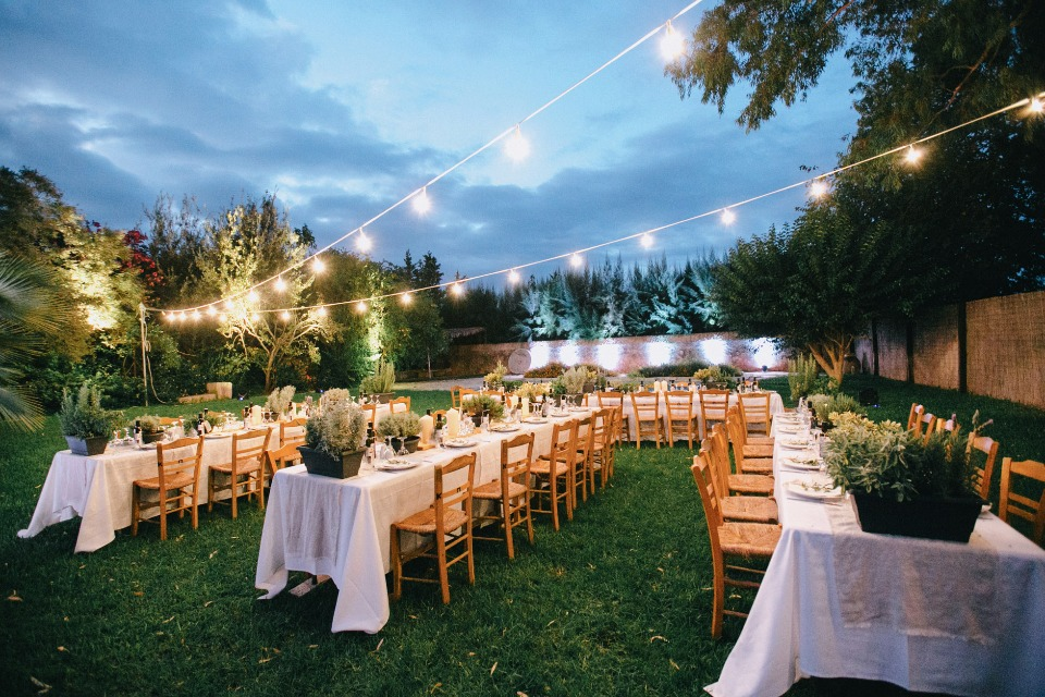 bistro light lit wedding reception