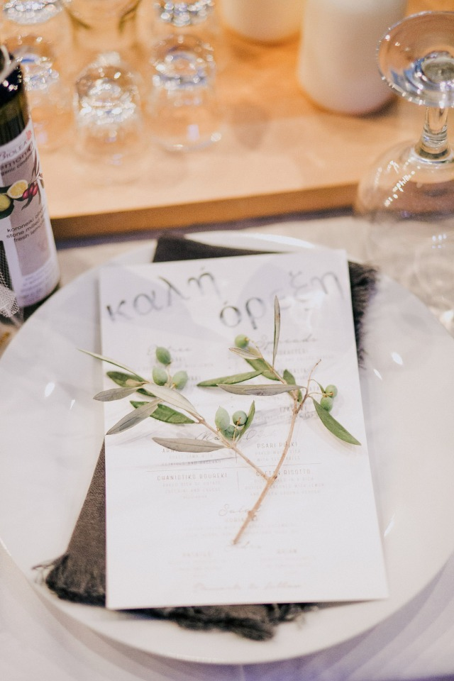 wedding menu and olive branch