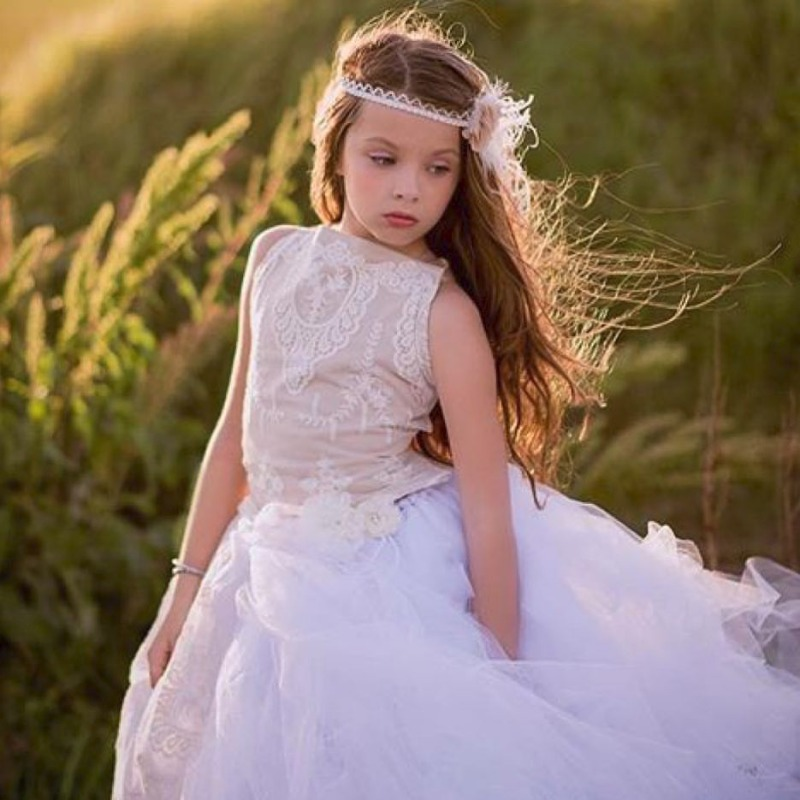 Your flower girl will be lovely in neutrals,,, ivory cameo lace with nude underlay and ivory skirt. Custom made. Colors may be adapted