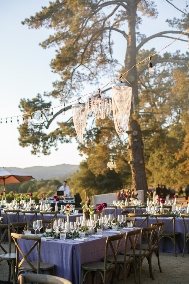 Pretty lighting idea for an outdoor reception