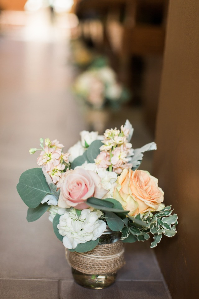 Low floral ceremony decor