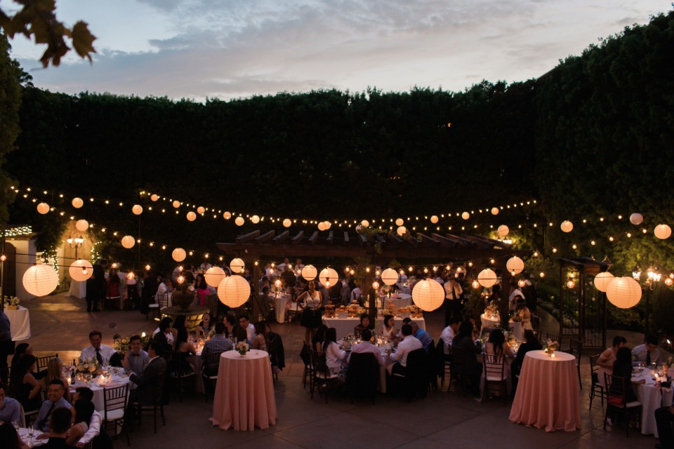 Bistro lights and lantern reception