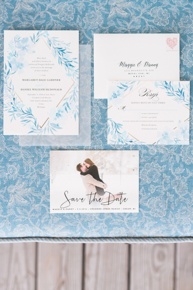 light blue wedding invitation suite