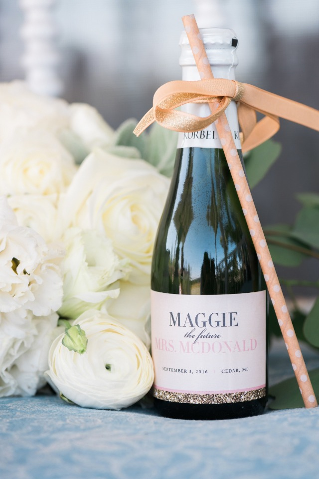 cute custom sparkling wine lable