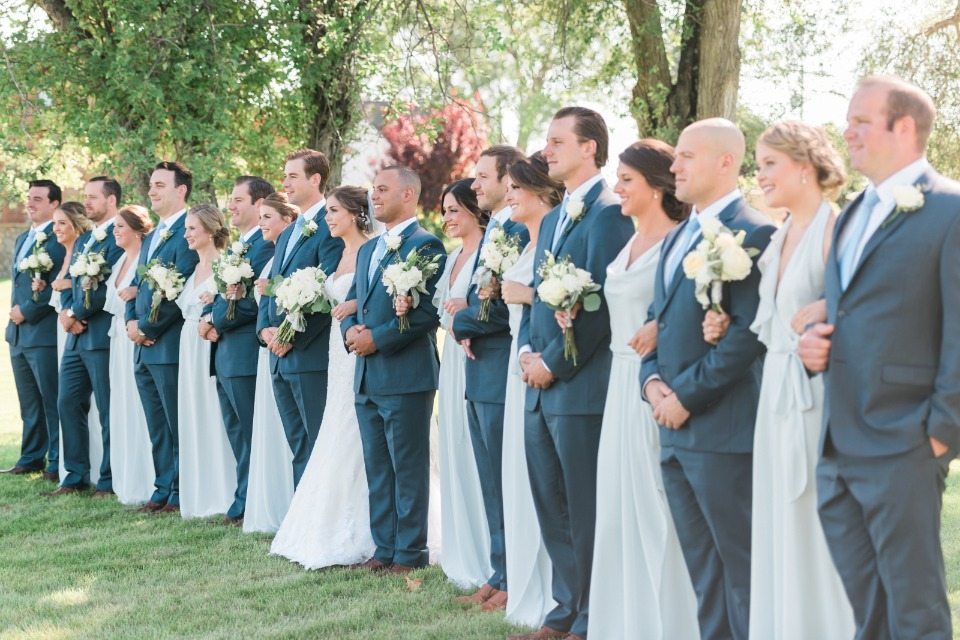 shark skin groomsmen and soft blue bridesmaids