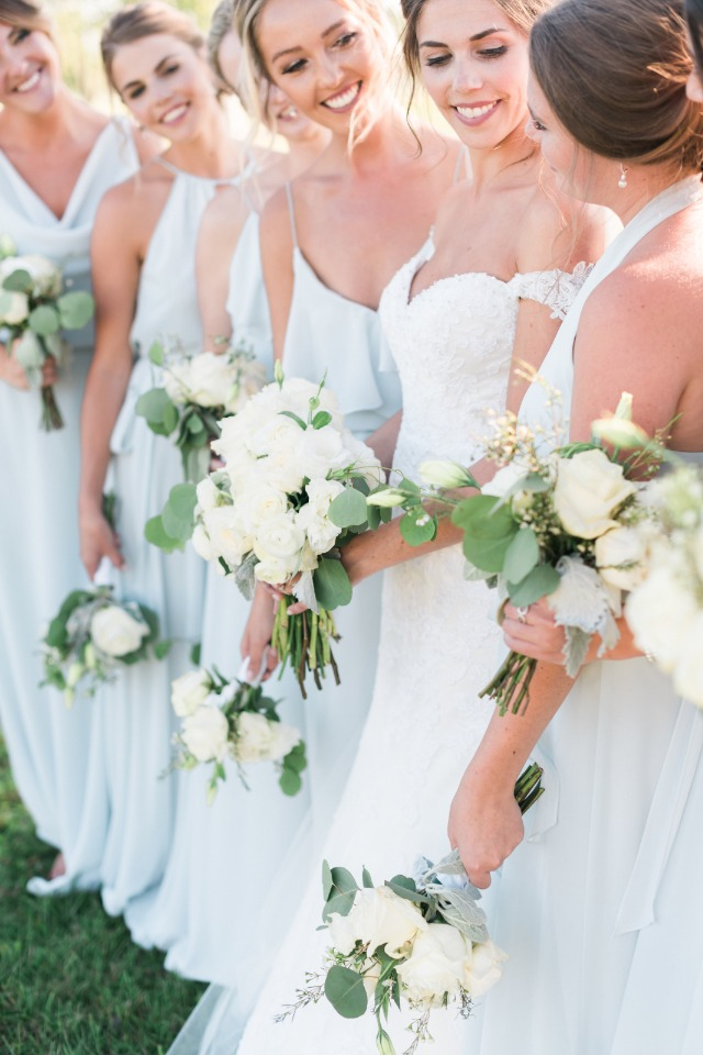 soft blue and white bridal party