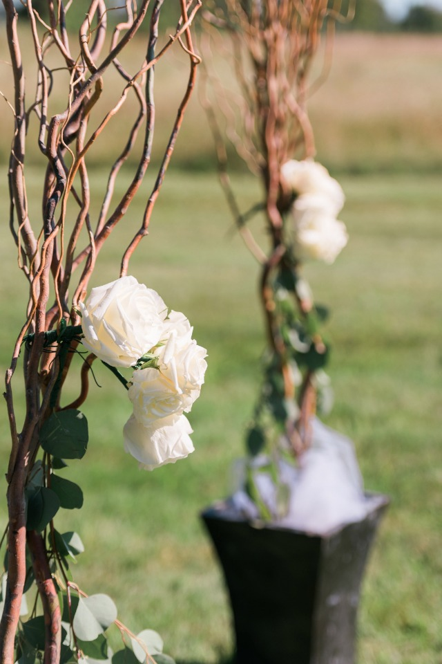 will branch and white rose wedding arch