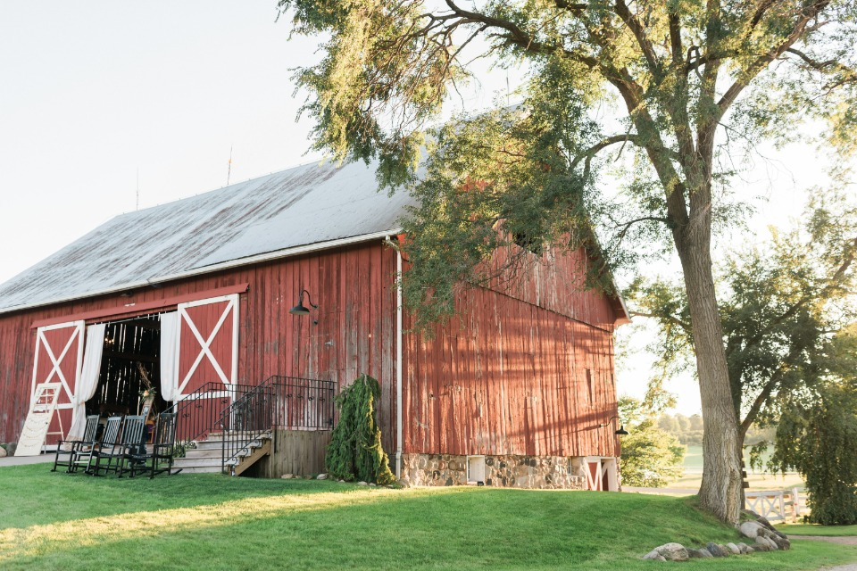 rustic red barn wedding reception