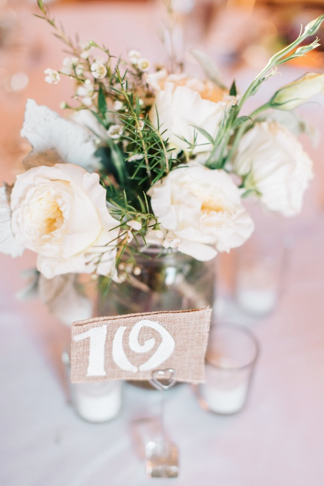 burlap table numbers with mason jar centerpieces