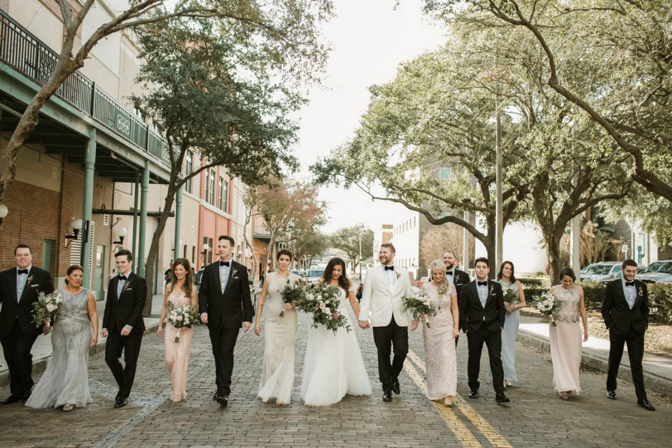 wedding party in black white and neutrals