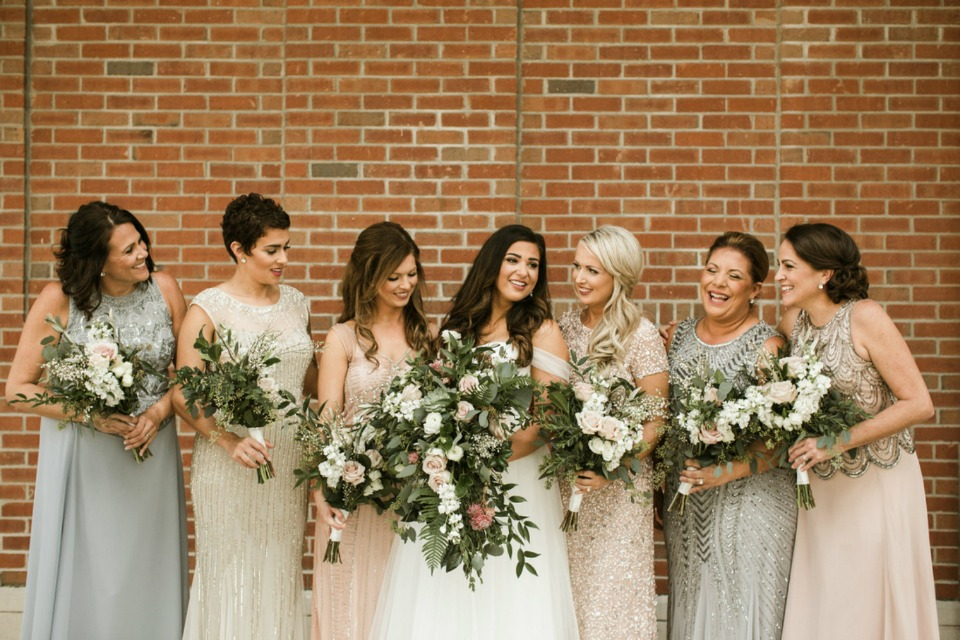 bridal party in neutral tones
