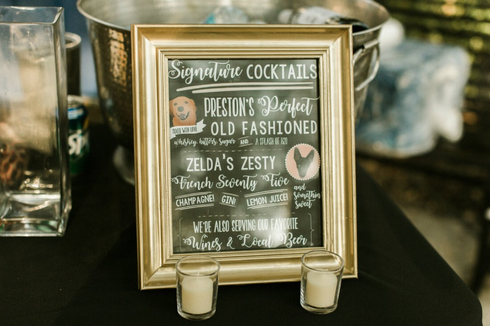 framed cocktail menu