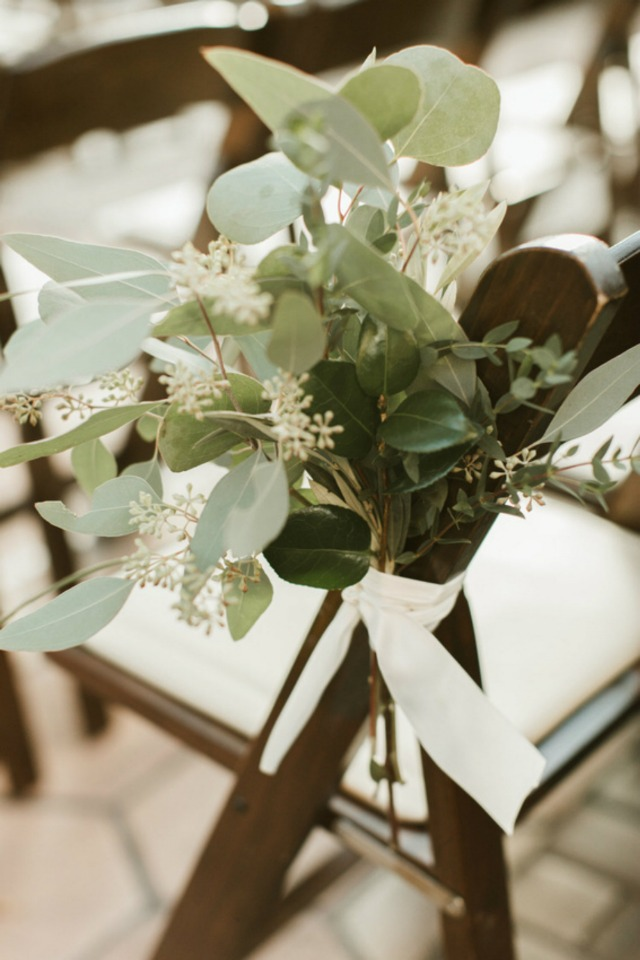 eucalyptus wedding aisle decor