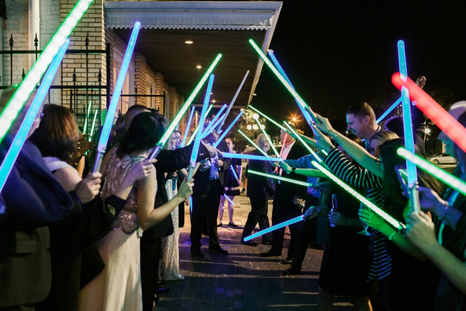 light saber wedding exit