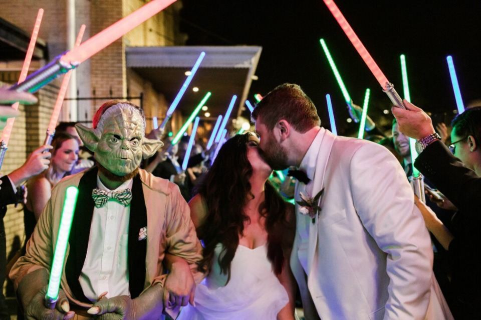 light saber wedding exit with yoda