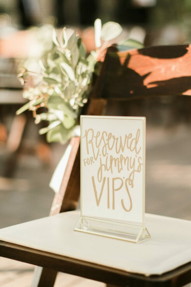 reserved wedding seating sign