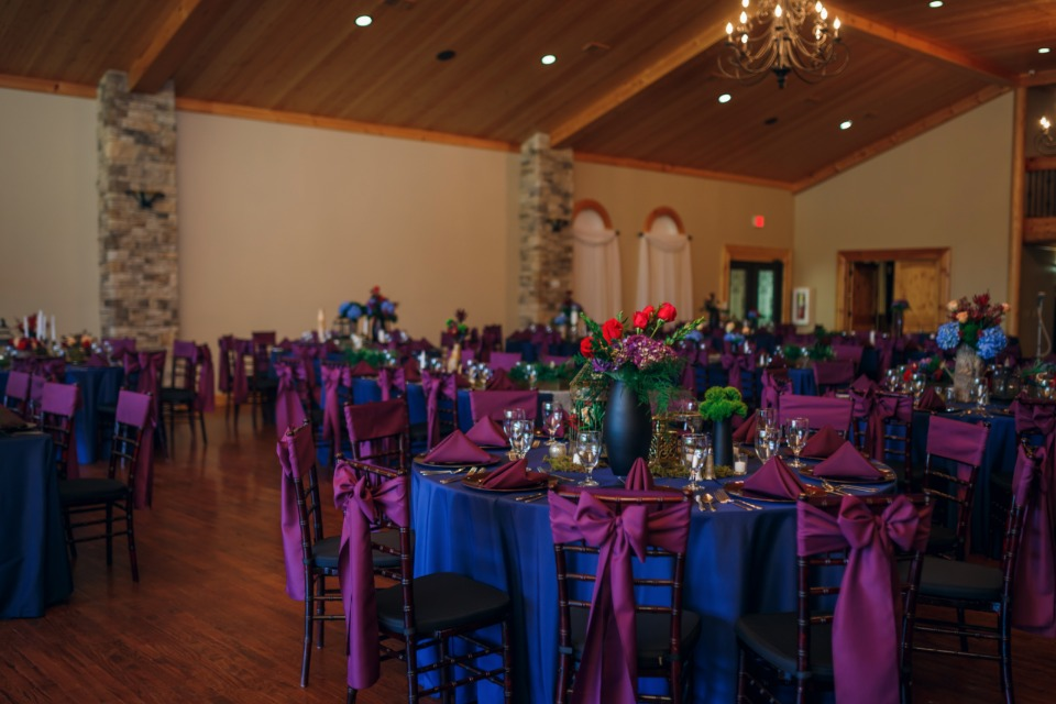 blue and purple wedding reception