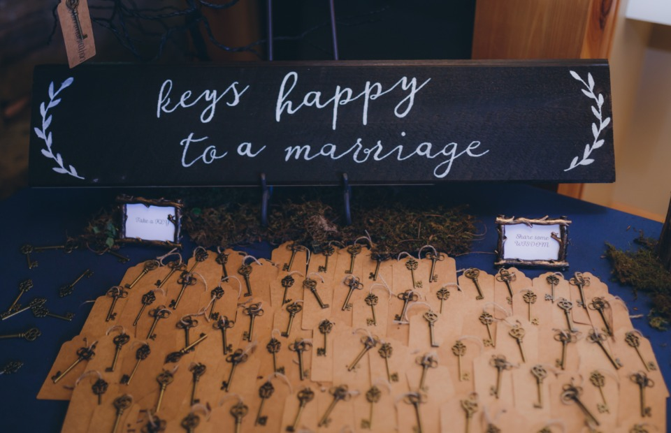 keys to a happy marriage escort cards