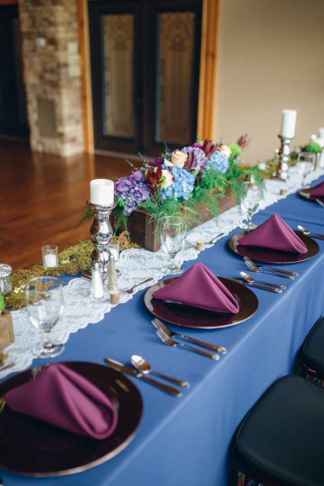 purple and bronze place setting