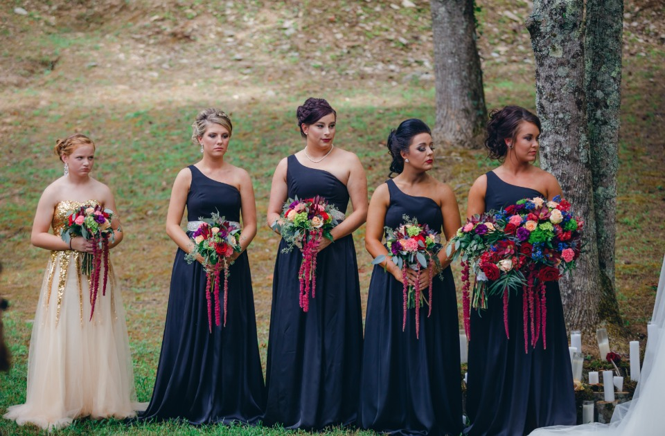 black single strap bridesmaids and flower girl in white and gold