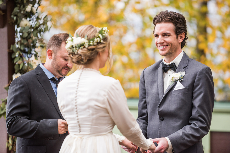 fall wedding ceremony outdoors