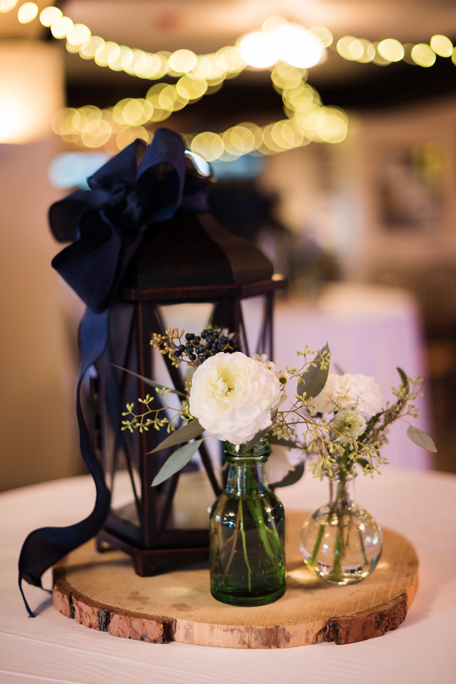 rustic wedding centerpiece with lantern