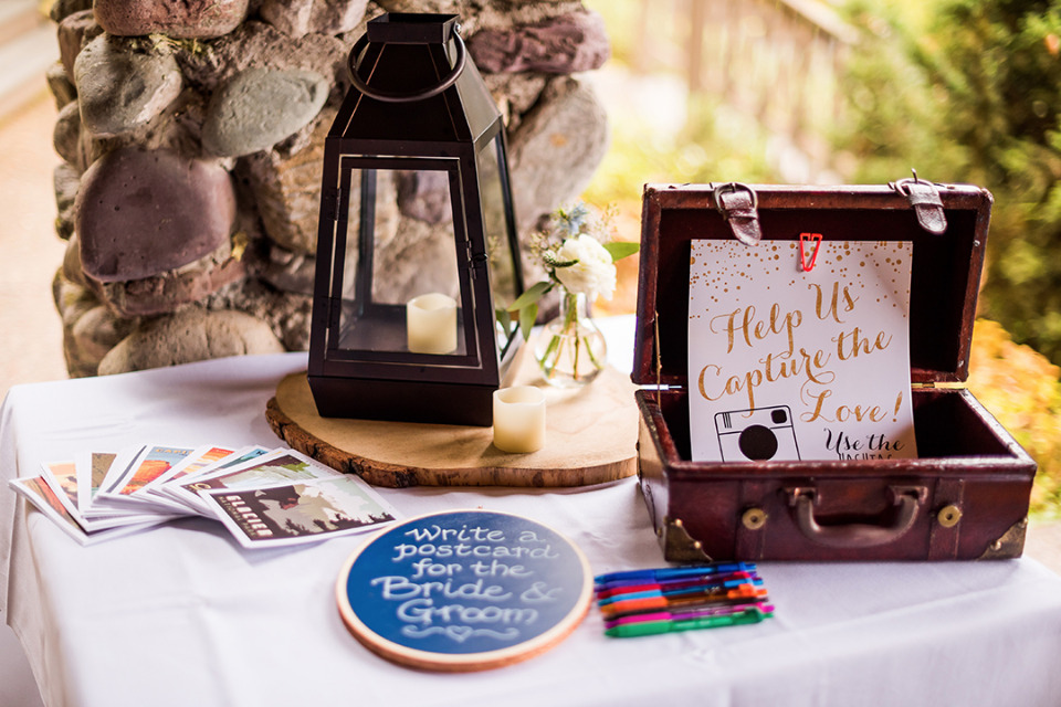 wedding guestbook table and instagram sign