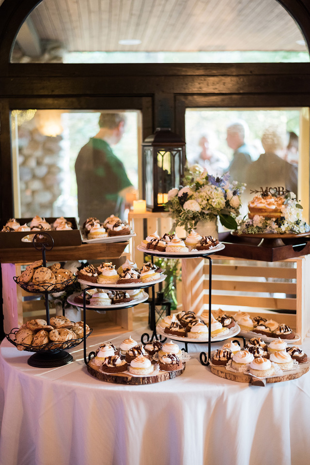 rustic wedding desserts display