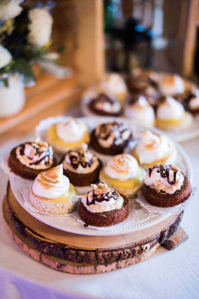 lemon meringue and chocolate wedding desserts