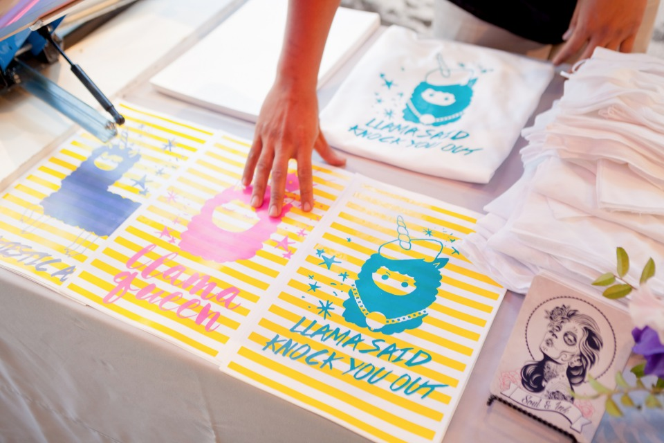 Screen prints for a Llamacorn themed bridal shower