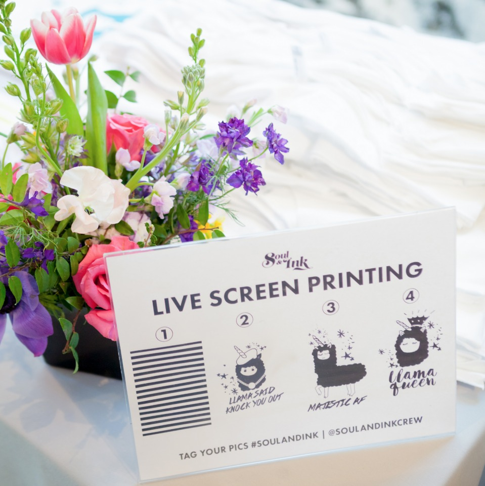 Bridal shower live screen printing