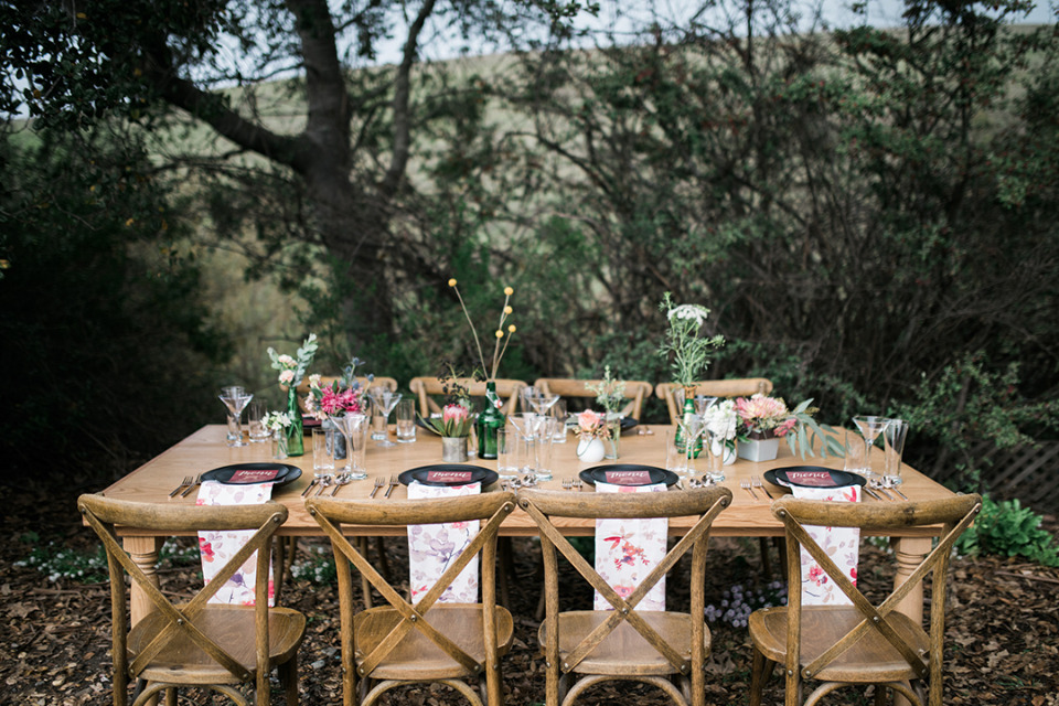 beautiful wood table and chair wedding rentals