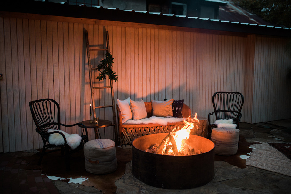 comfy cozy eclectic wedding fire pit