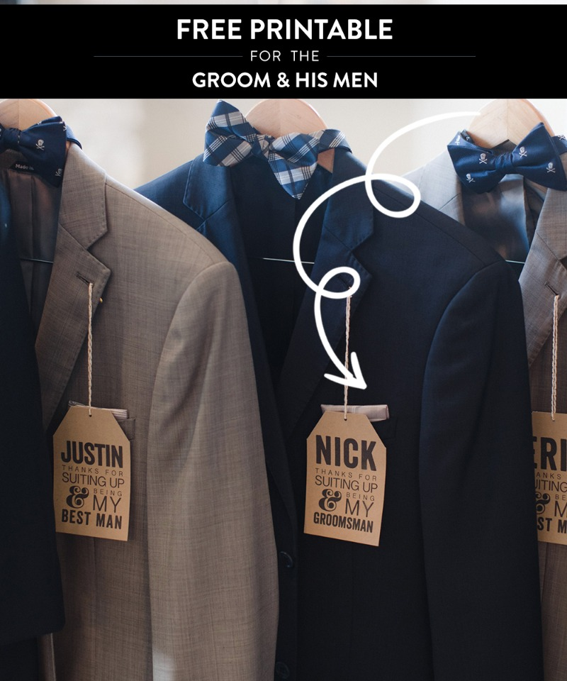 Free printable for all the Groomsman, so they know whos suit is whos