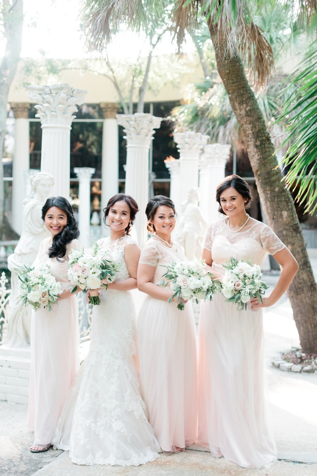 Matching blush gown and bouquets