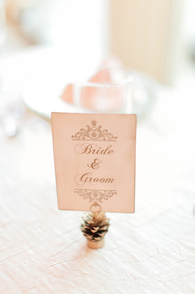 Bride and groom table sign