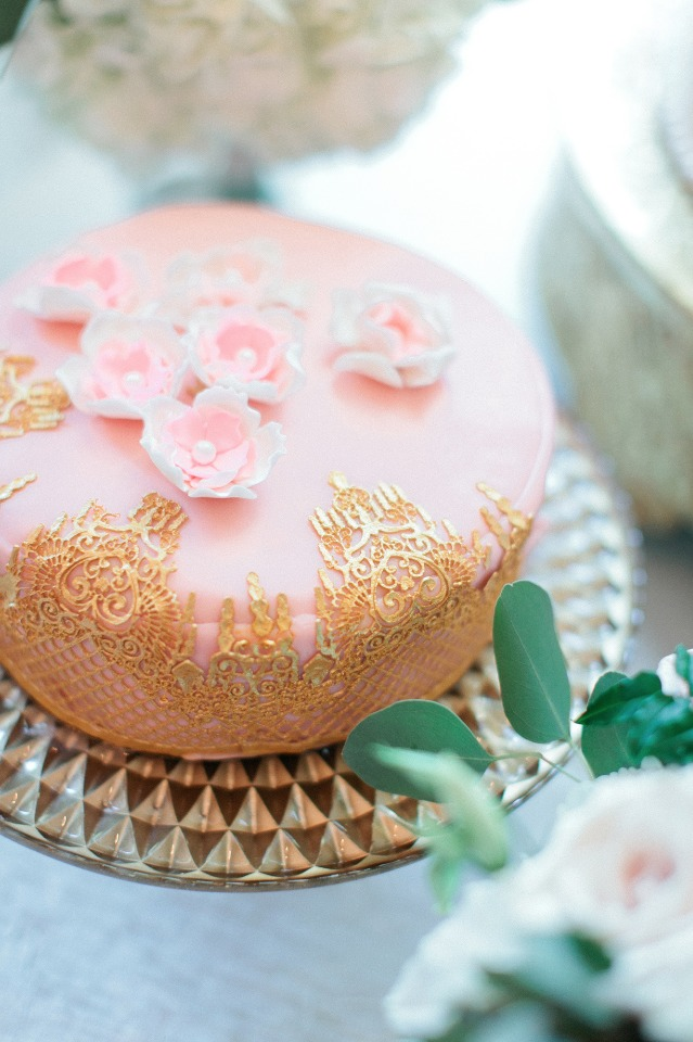 Beautiful pink and gold cake