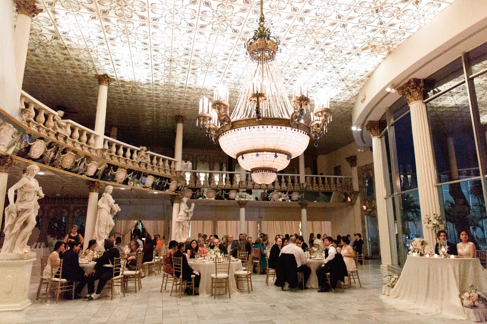 Elegant reception with a giant chandelier