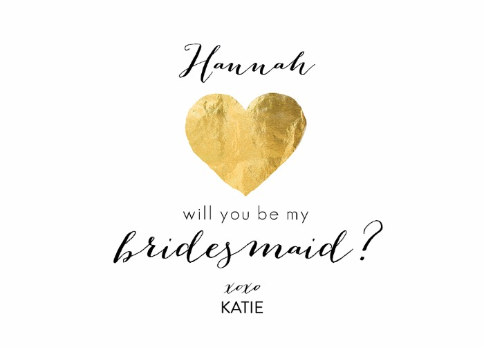Print: Free Gold Heart Will You Be My Bridesmaid Card